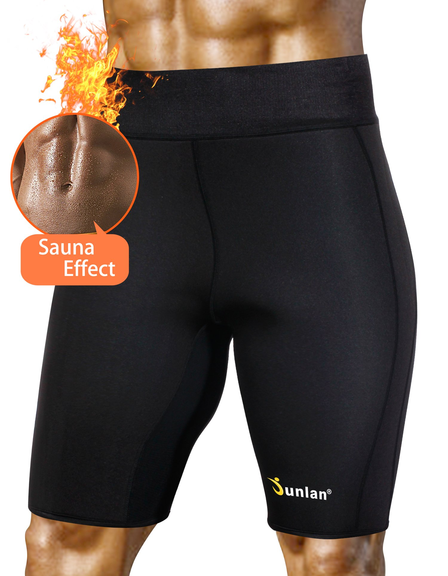 Junlan Men's Weight Loss Sauna Hot Sweat Thermo Shorts Body Shaper Neoprene Athletic Yoga Pants Gym Tummy Fat Burner Slimming (Black, M)