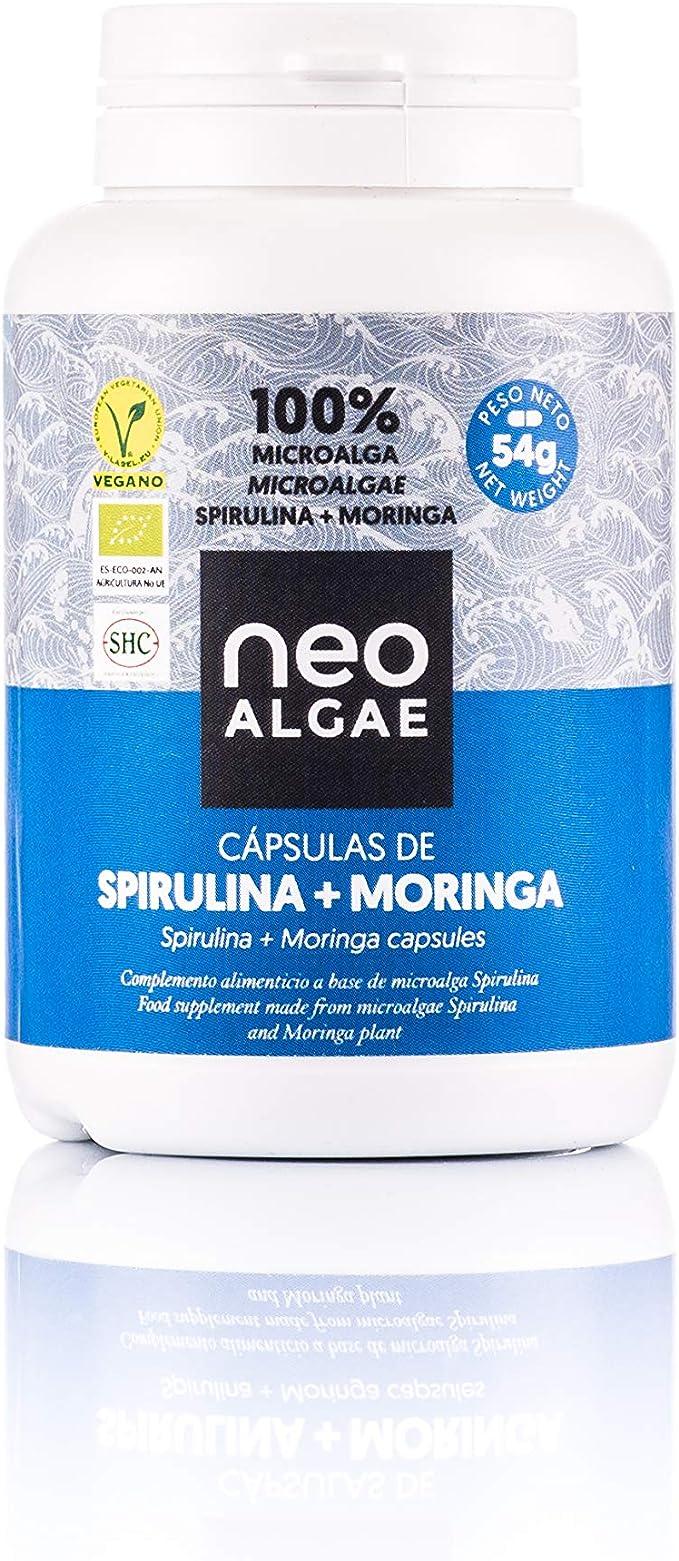 Cápsulas de Moringa y Spirulina | Efecto Depurativo de la Spirulina y Quemagrasas de la Moringa | Producción 100% Ecológica | 350 mg por Cápsula | 120 Cápsulas por Envase |: Amazon.es: Alimentación y bebidas