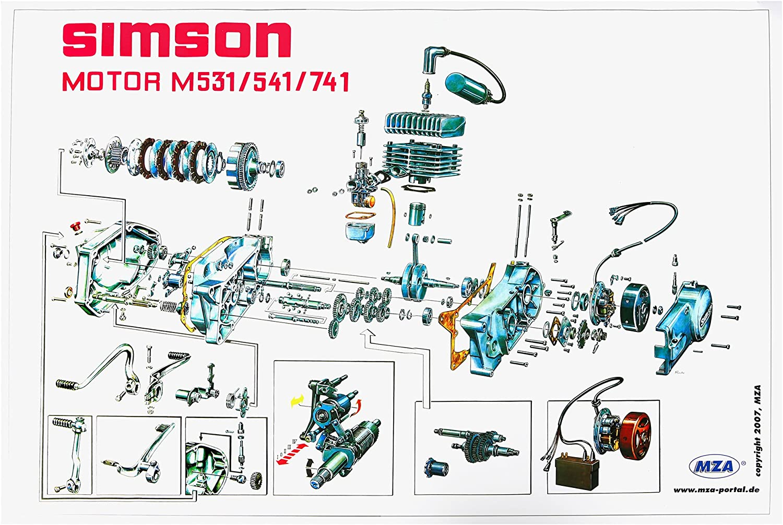 Mza Explosionsdarstellung Farbposter Simson S51 72 X 50cm Garten