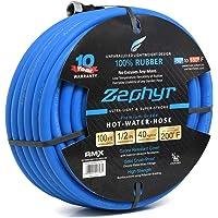 """Zephyr Next-gen Garden Hose (1/2"""" x 100ft, Ultra-Light Flexible Rubber, Brass Fittings),Blue"""