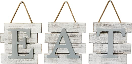 Amazon Com Barnyard Designs Eat Sign Wall Decor Rustic Farmhouse Decoration For Kitchen And Home Decorative Hanging Wooden Letters Country Wall Art Distressed White And Gray 24 X 8 Home Kitchen