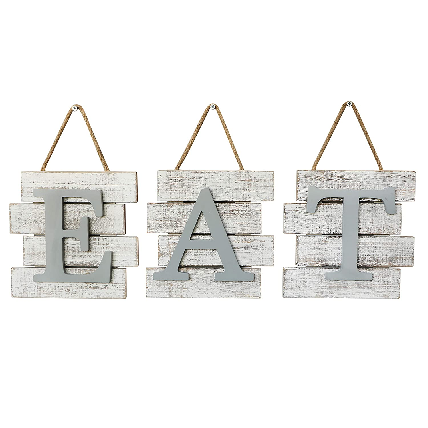 "Barnyard Designs Eat Sign Wall Decor Kitchen Home, Distressed White, Rustic Farmhouse Country Decorative Wall Art 24"" x 8"""