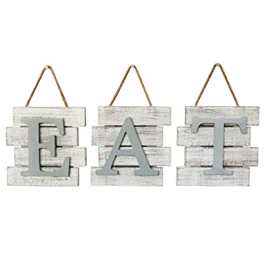 Barnyard Designs Eat Sign Wall Decor for Kitchen and Home, Distressed White, Rustic Farmhouse Country Decorative Wall Art 24  x 8""