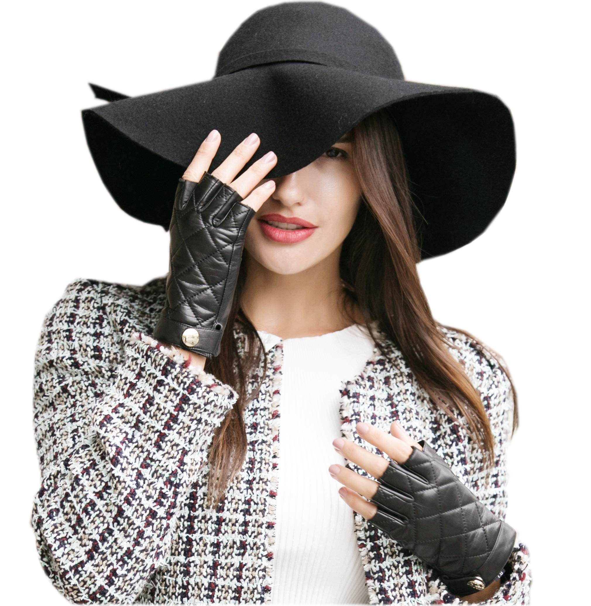 83b120558 YISEVEN Women's Classic Sheepskin Leather Fingerless Gloves Lined ...