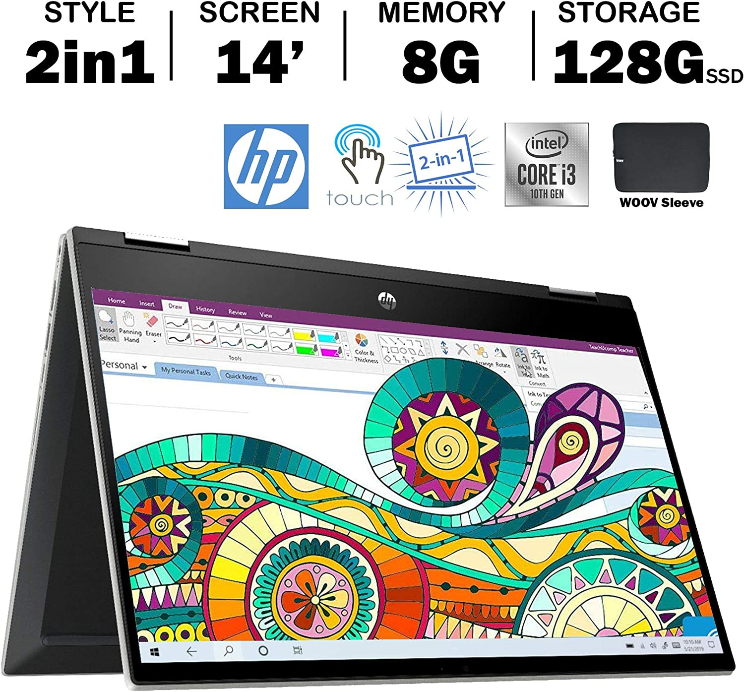 Hp Pavilion X360 14 Inch Student and Business 2-in-1 Touchscreen Laptop with Woov Sleeve, Intel Dual-core i3-1005G1 (Beat i5-7200U), 8GB RAM, 512GB PCIe SSD, Wireless AC, Windows 10, Silver