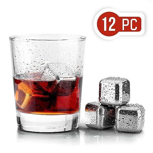 Uten 12PCS Cubos de Hielo Whisky Acero Inoxidable Piedras Cubitos Enfriadores Reutilizables para Whiskey Vino y Cóctel Nunca Diluir Bebidas