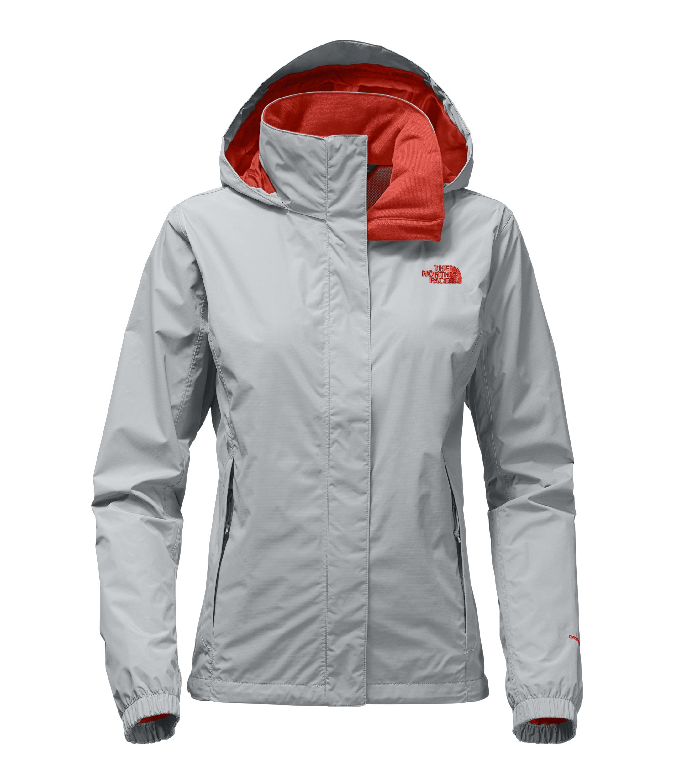 The North Face Womens Resolve 2 Jacket High Rise Grey and Fire Brick Red - XXL
