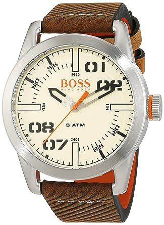 4c7851c94 Hugo Boss Orange Oslo Men's Quartz Analogue Classic Brown Leather Strap  1513418
