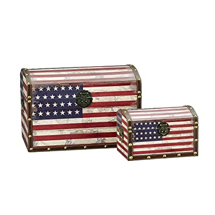 Household Essentials Decorative Storage Trunk American Flag Design Large and Small Set of  sc 1 st  Amazon.com & Amazon.com: Household Essentials Decorative Storage Trunk American ...