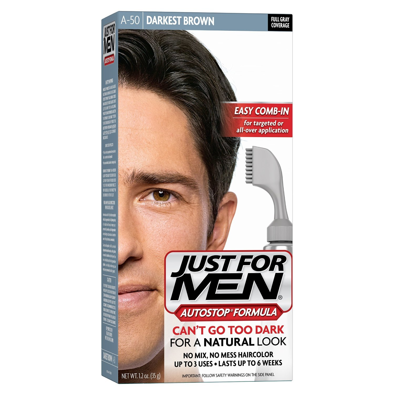 Just For Men AutoStop Hair Color - #50 Darkest Brown (Pack of 12)