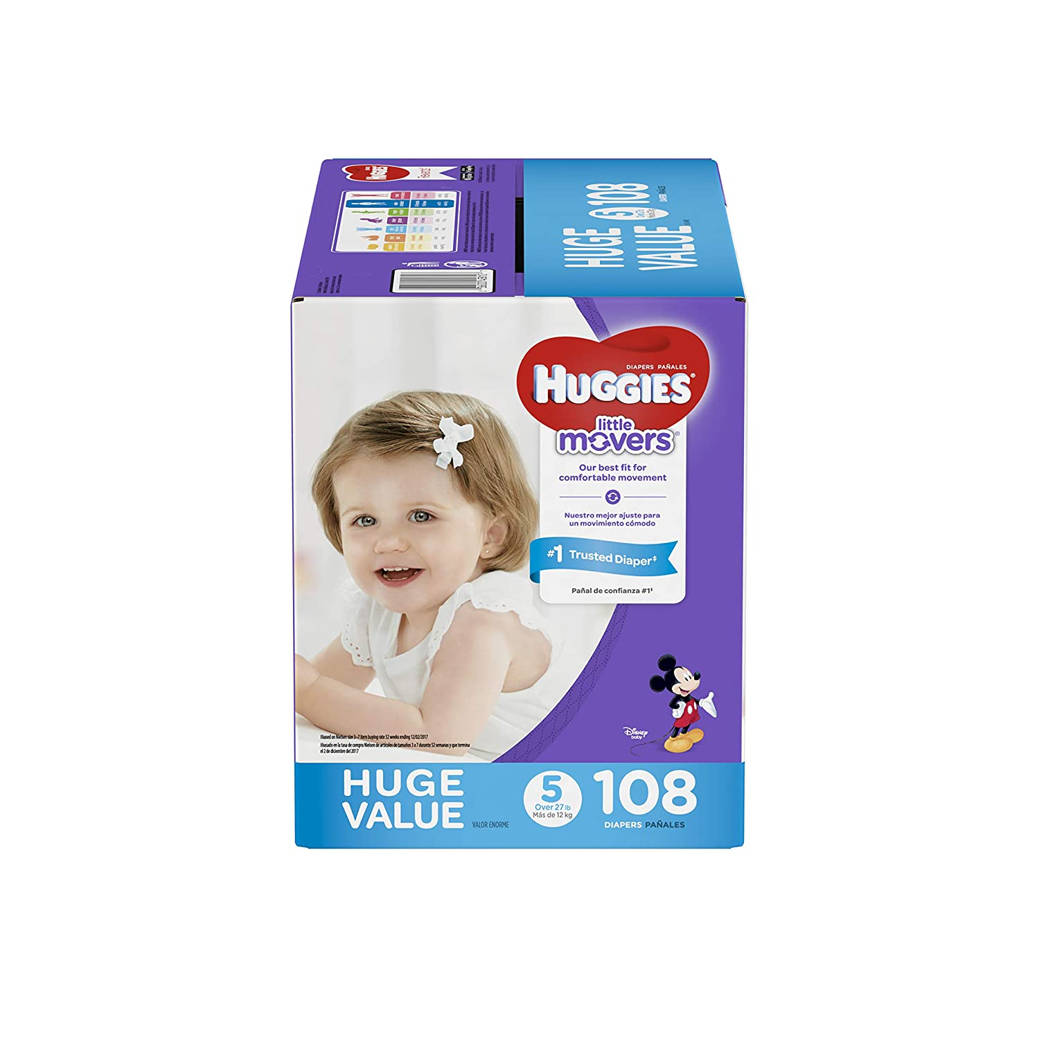 Amazon.com: HUGGIES Little Movers Diapers, Size 5 (27+ lb.), 108 Ct, Huge Pack (Packaging May Vary), Baby Diapers for Active Babies: Health & Personal Care
