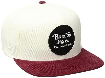 Brixton Hombre Wheeler – Gorra, White/Burgundy, One Size