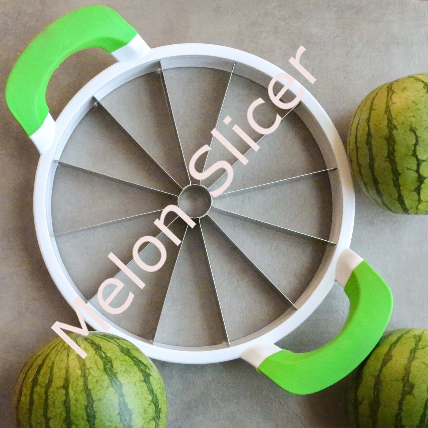 Watermelon Slicer with Comfort Handle,Home Stainless Steel Fruit Slicer Cutter Peeler Corer Server for Cantaloup Melon,Pineapple,Honeydew,Simply get 12-11inch/28cm Extra Large