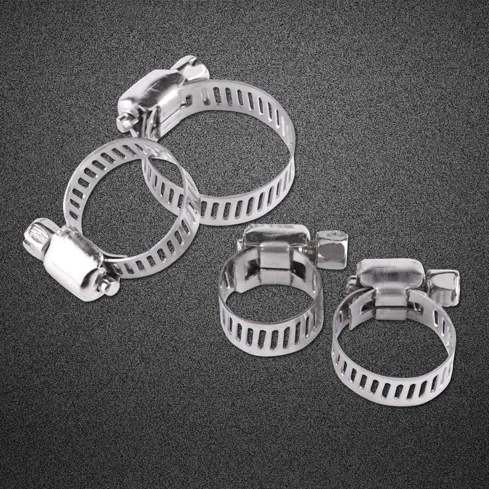 16-25 Abrazadera de manguera 10pcs 8-25mm Rango ajustable L/ínea de combustible de acero inoxidable Tubo de manguera Clip Clip de tornillo sin fin abrazaderas