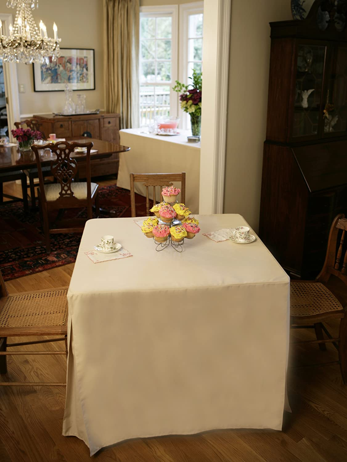 Amazon com 34 inch tablecloth fitted folding table cover tablevogue white kitchen dining