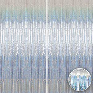 Xtra Large Iridescent Silver Foil Fringe - 3.2x10 Feet | Pack of 2 | Tinsel Streamers Silver Party Decorations | Metallic Holographic Silver Backdrop Curtain for Birthday, New Year, Bachelorette Party
