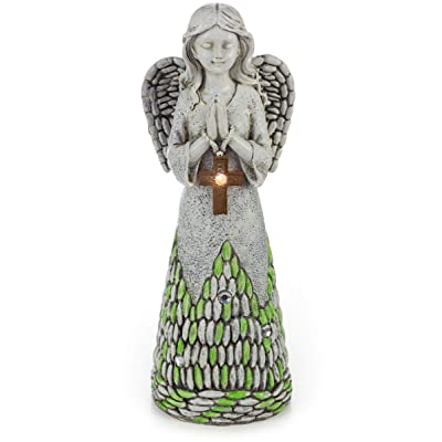 Praying Angel with Cross Solar Powered LED Outdoor Decor Garden Light