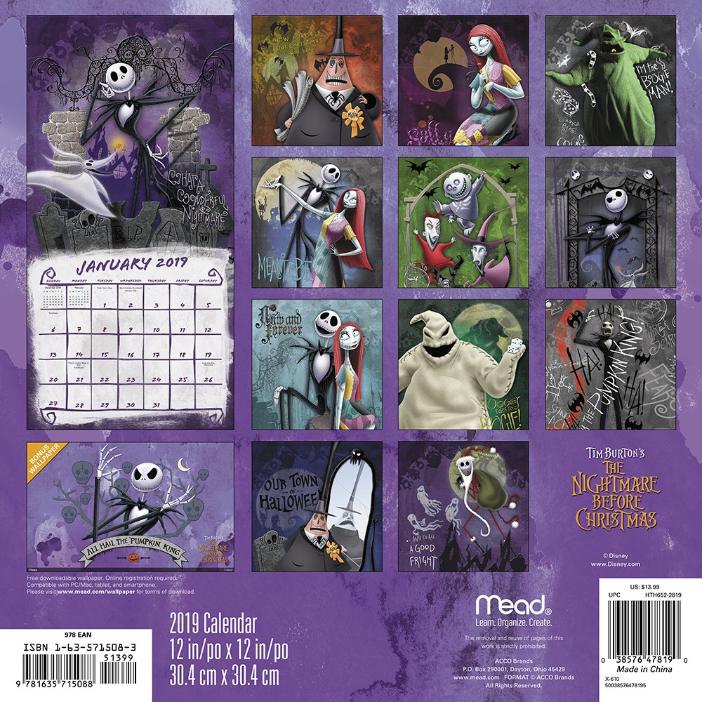 The Nightmare Before Christmas - 2020 Wall Calendar Amazon.com: The Nightmare Before Christmas Wall Calendar (2019