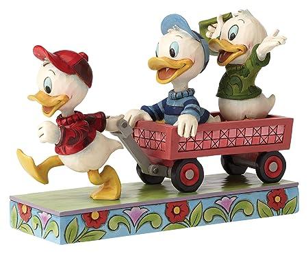 Enesco Jim Shore Disney Here Comes Trouble Huey Dewey Louie on Wagon Figurine 4054283