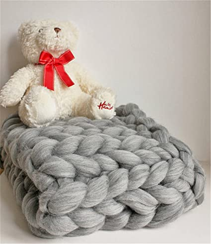 6fd4621bb Amazon.com  Chunky Knit Baby Boy Blanket - New Baby Boy Gift - Giant ...