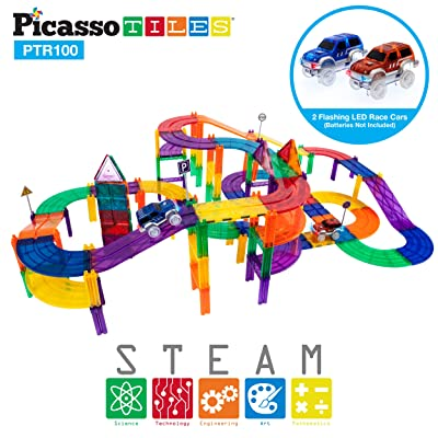 PicassoTiles 100 Piece Race Car Track Magnet Building Blocks Educational Toy Set Magnet Tiles Magnets Block Playset 2 LED Cars STEM Learning Construction Building Kit Child Brain Development Training: Toys & Games