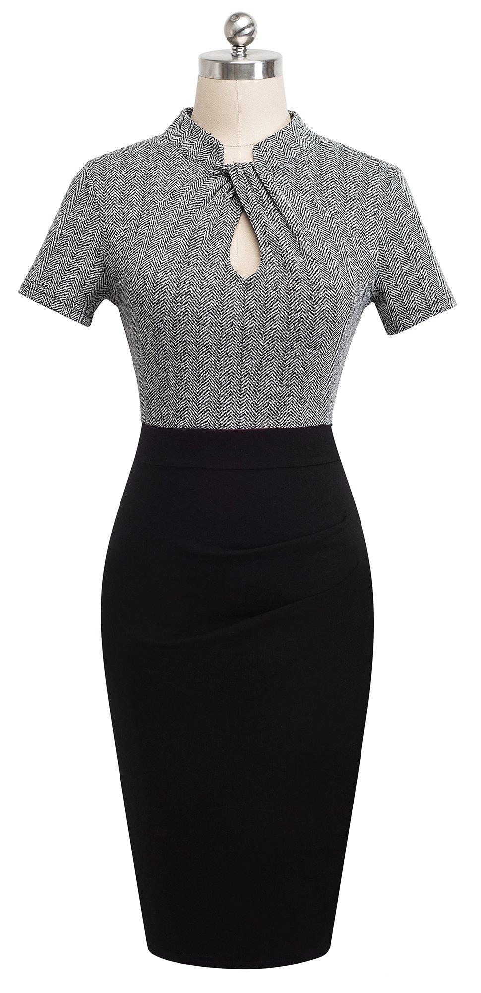 HOMEYEE Women's Short Sleeve Business Church Dress B430 (4, Gray) by HOMEYEE (Image #2)
