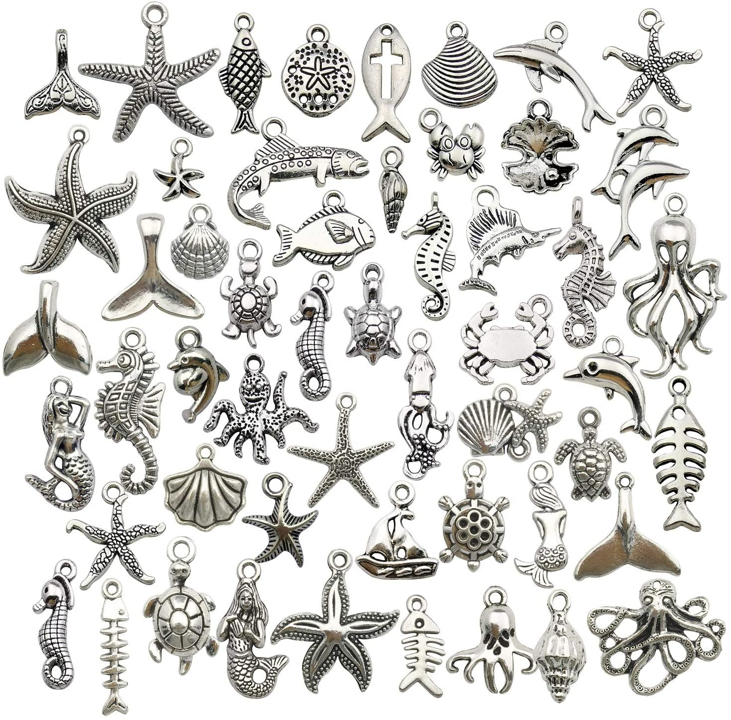 WOCRAFT 120g(100pcs) Antique Silver Sea Animals Marine Life Charms Pendants for Crafting, Jewelry Findings Making Accessory for DIY Necklace Bracelet (M292)