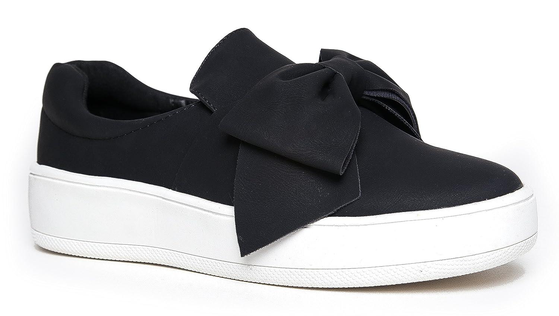 J. Adams Bow Platform Slip on – Trendy Flatform Shoes - Comfortable Closed Toe Sneakers – Wally B071VCMCVN 7 B(M) US|Bow Black Nbpu
