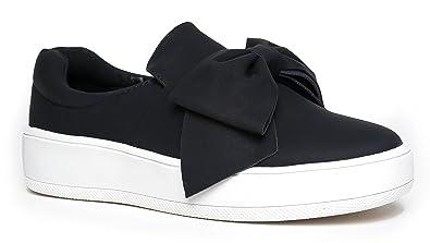 f7047ebbe9 J. Adams Bow Platform Slip Ons – Trendy Flatform Shoes - Comfortable Closed  Toe Sneakers