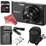 Sony DSCW830 20.1 MP ULTIMATE PRO Digital Camera Bundle (Black) - Camera + Travel Case + High-speed 32GB SD Card + Rechargeable Battery / Charger + Ultra Gentle DigitalAndMore Microfiber Lens Cloth