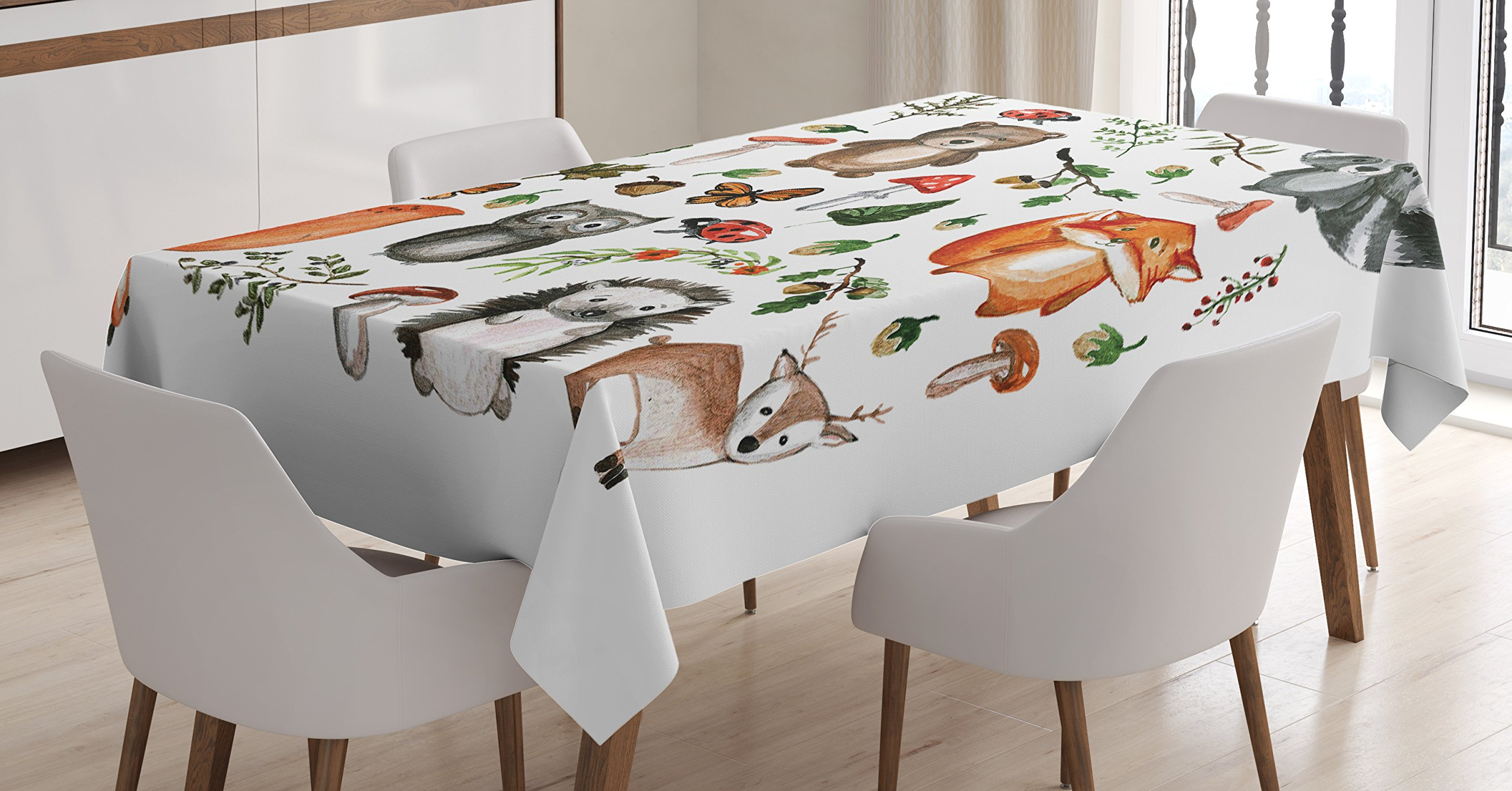 Lunarable Woodland Tablecloth by, Watercolor Hand Drawn Forest Animals Illustration among Elements of the Woods, Dining Room Kitchen Rectangular Table Cover, 60 W X 84 L Inches, Multicolor