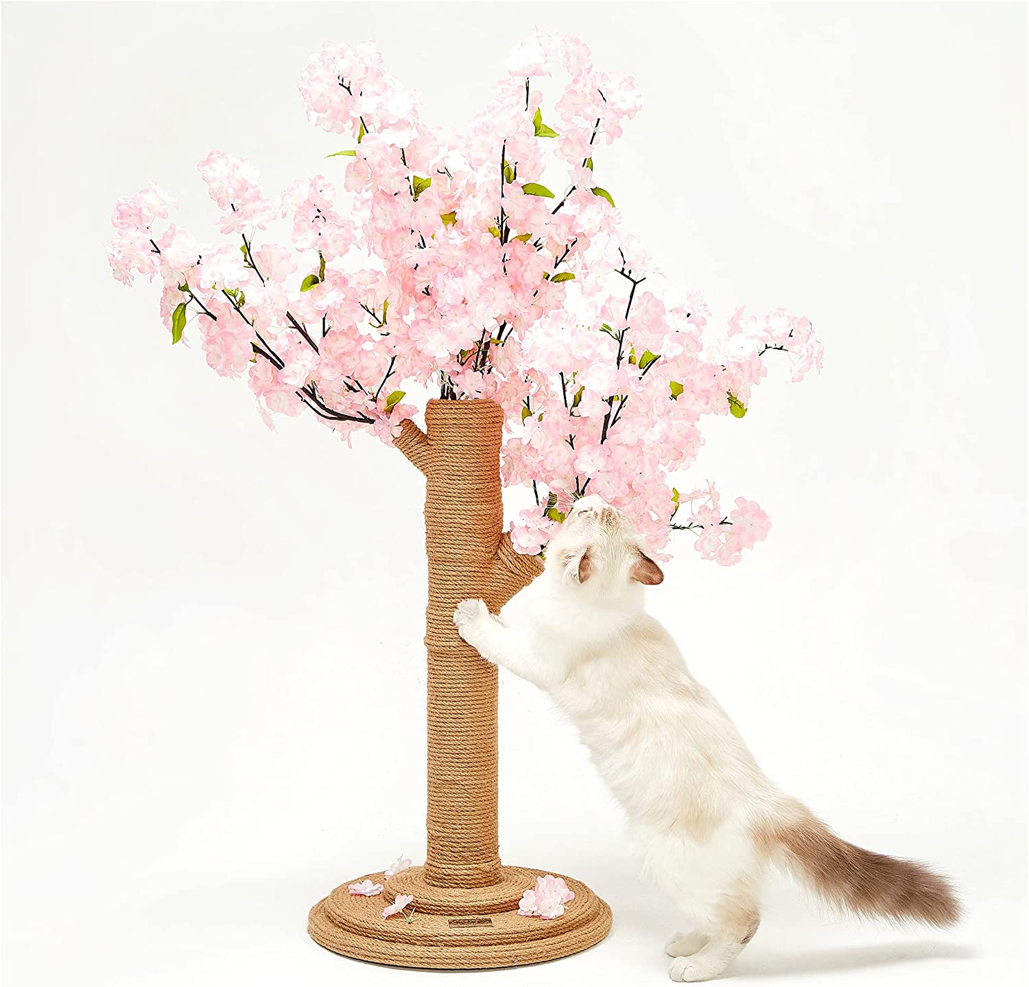 VETRESKA Cat Tree with Cherry Blossom Cat Scratching Post, Cat Condo Cat Activity Tree with Sisal Rope, Vertical Cat Scratcher for Cat, Kitten, Modern Cat Furniture Home Decor