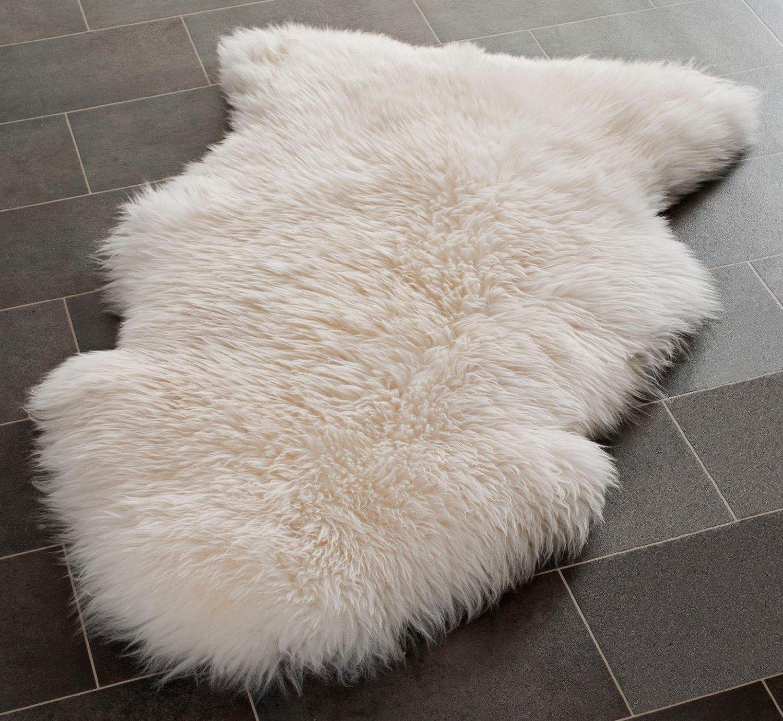 Tapis naturel Indigo Silk en véritable peau de mouton ivoire, Laine, ivoire, Appr. 105cmx 60cm. Large SNUGRUGS