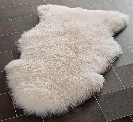 Vello Di Pecora.Rughouse Indigosilk Tappeto Vello Di Pecora Con Lana Spessa Lana White Large 105 X 65 Cm