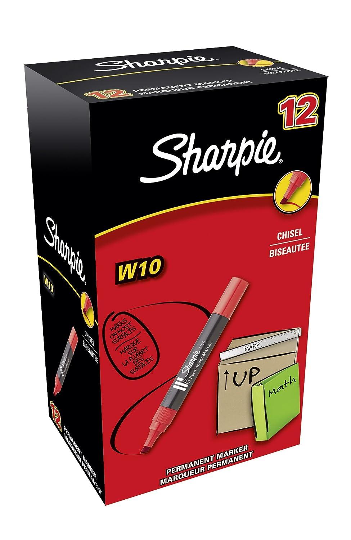 Sharpie W10 Pennarelli indelebili con punta a scalpello, nero, Scatola da 12 Newell Rubbermaid S0192654
