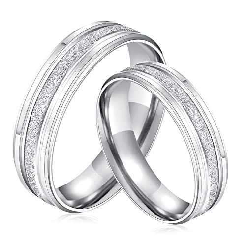 a8b31db962 MONIYA 2pcs His and Hers Matching Couple Rings Set Frosted Surface  Stainless Steel Silver Wedding Band|Amazon.com