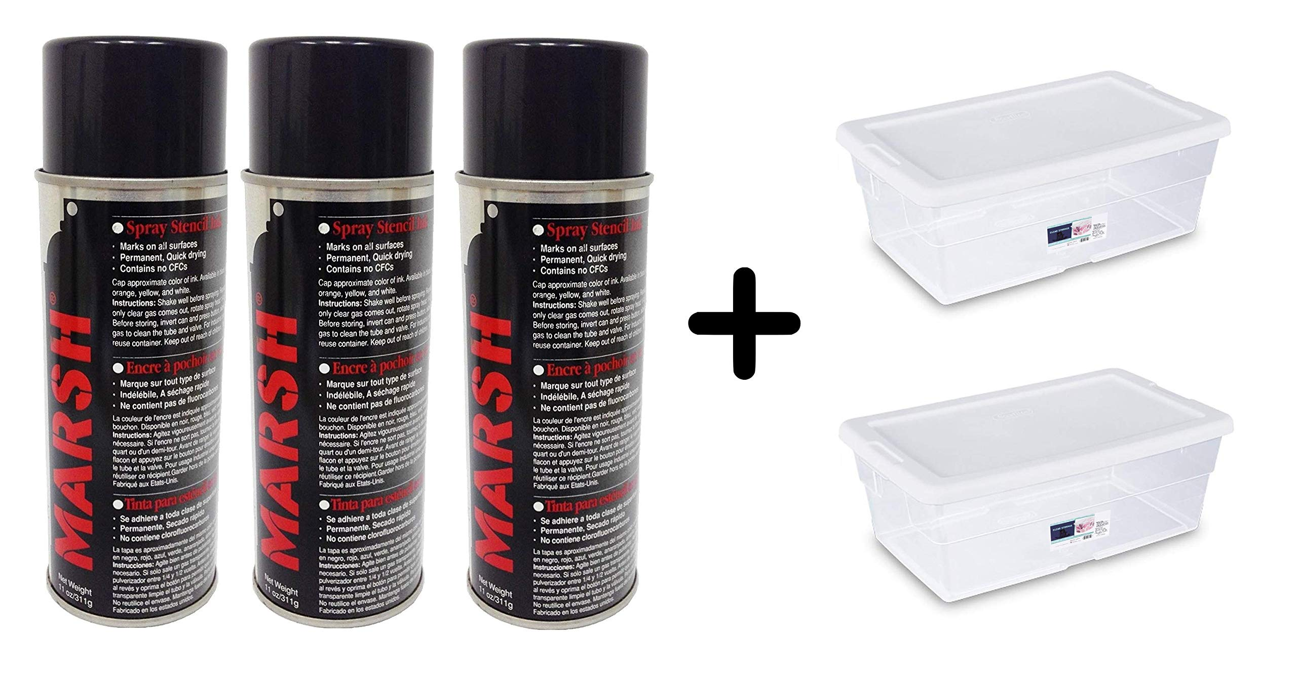 MARSH Stencil Ink, 14 fl oz Spray Can, Black (Net weight 11 fl oz) (3-SET) by Marsh