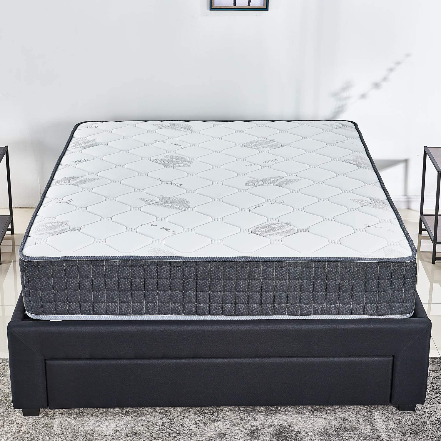 10 inch Latex Hybrid Coil Spring Mattress/Cooling Bed in a Box-Pocket Innerspring Mattress/CertiPUR-US/20Years Warranty Full/Firm But Comfortable (Queen)