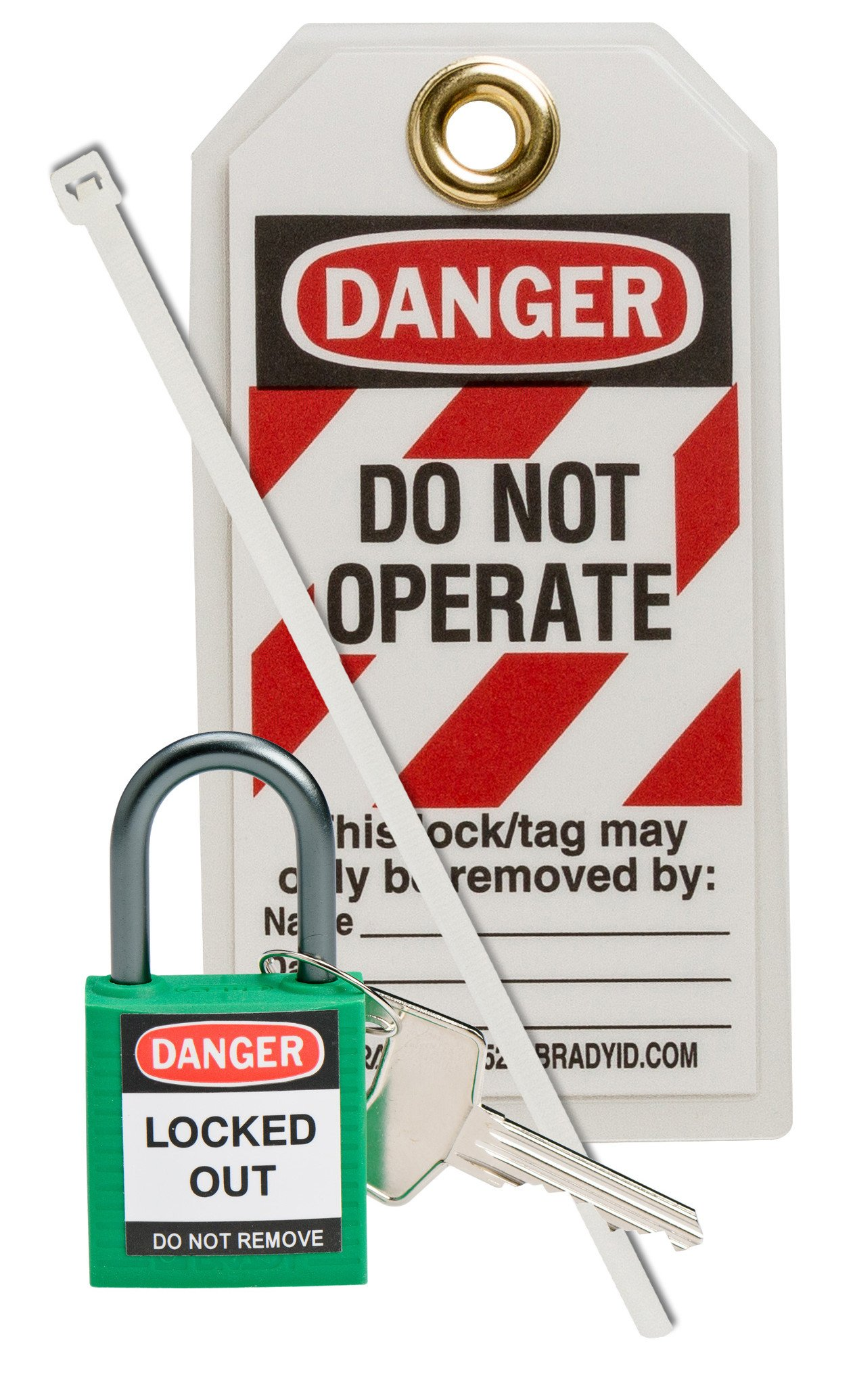 Brady 123144 Compact Lock Personal Kit, Green