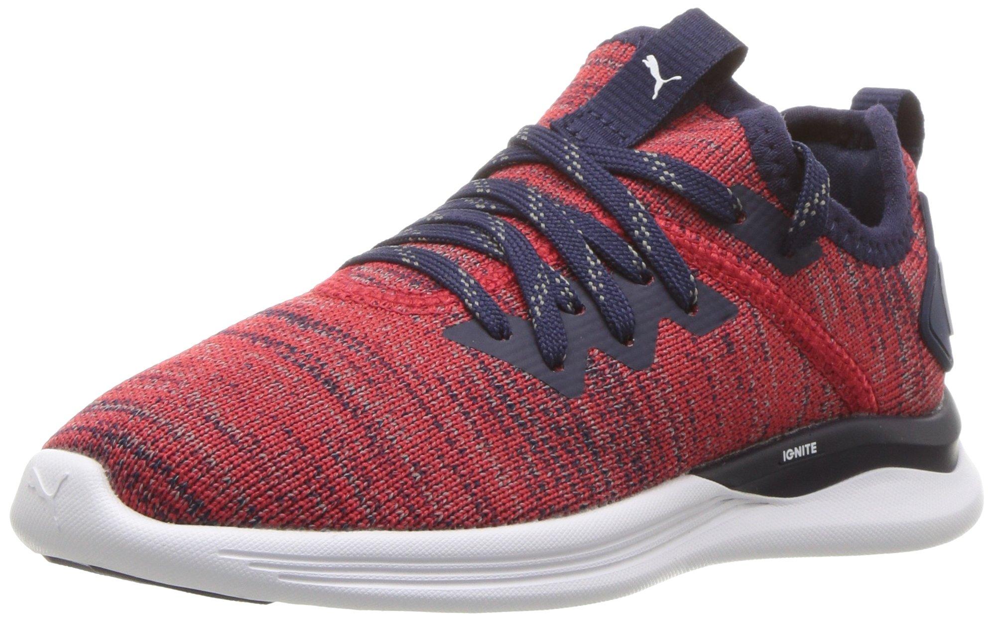 PUMA Unisex-Kids Ignite Flash Evoknit Sneaker, Ribbon Red-Peacoat White, 10.5 M US Little Kid