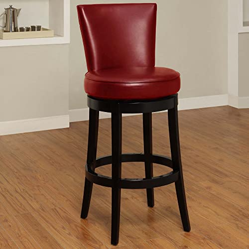 Armen Living Boston 26 Counter Height Swivel Barstool in Red Bonded Leather and Black Wood Finish