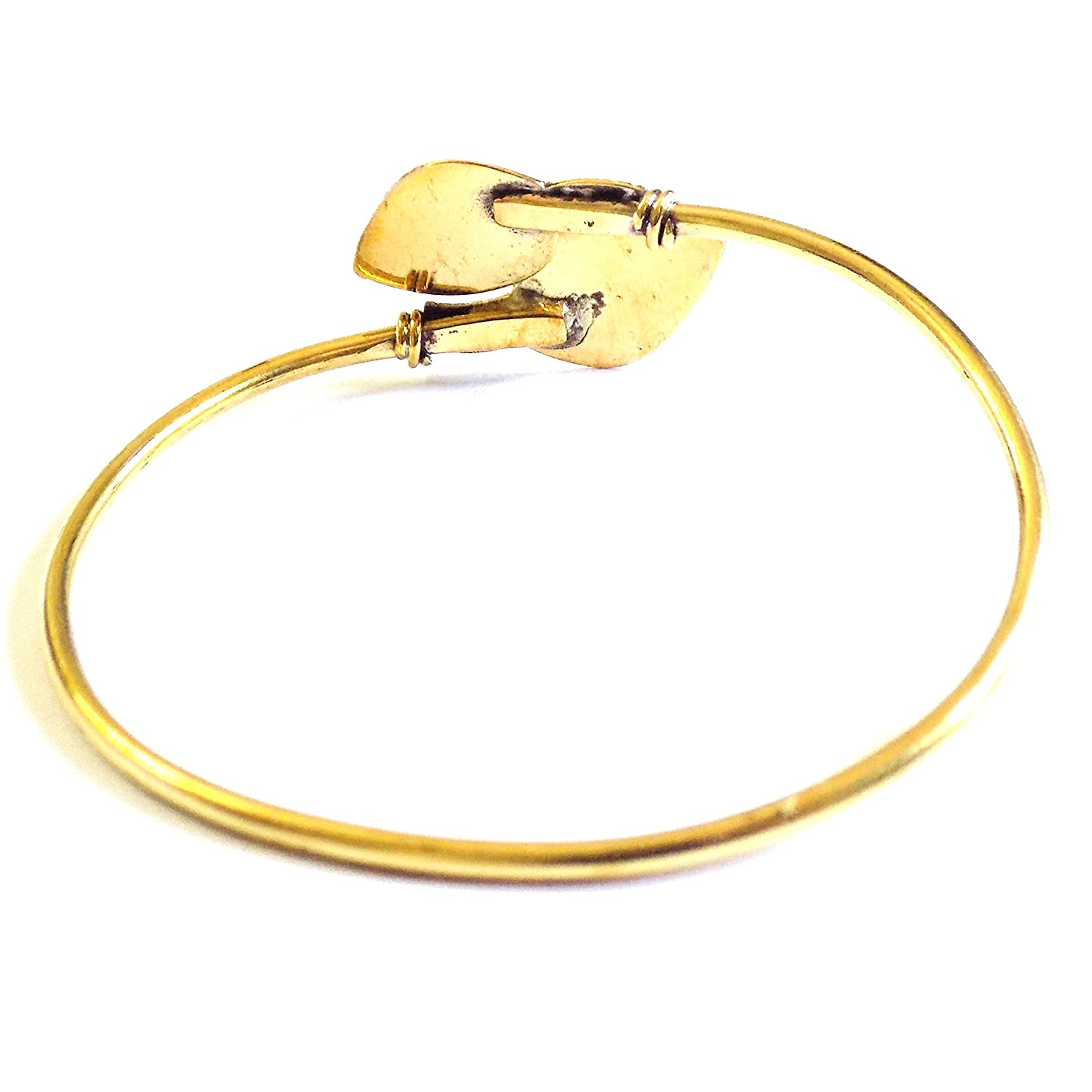 LEAF SHAPE Brass Handmade Bangle Gold Polished Free Size For Women//Girls