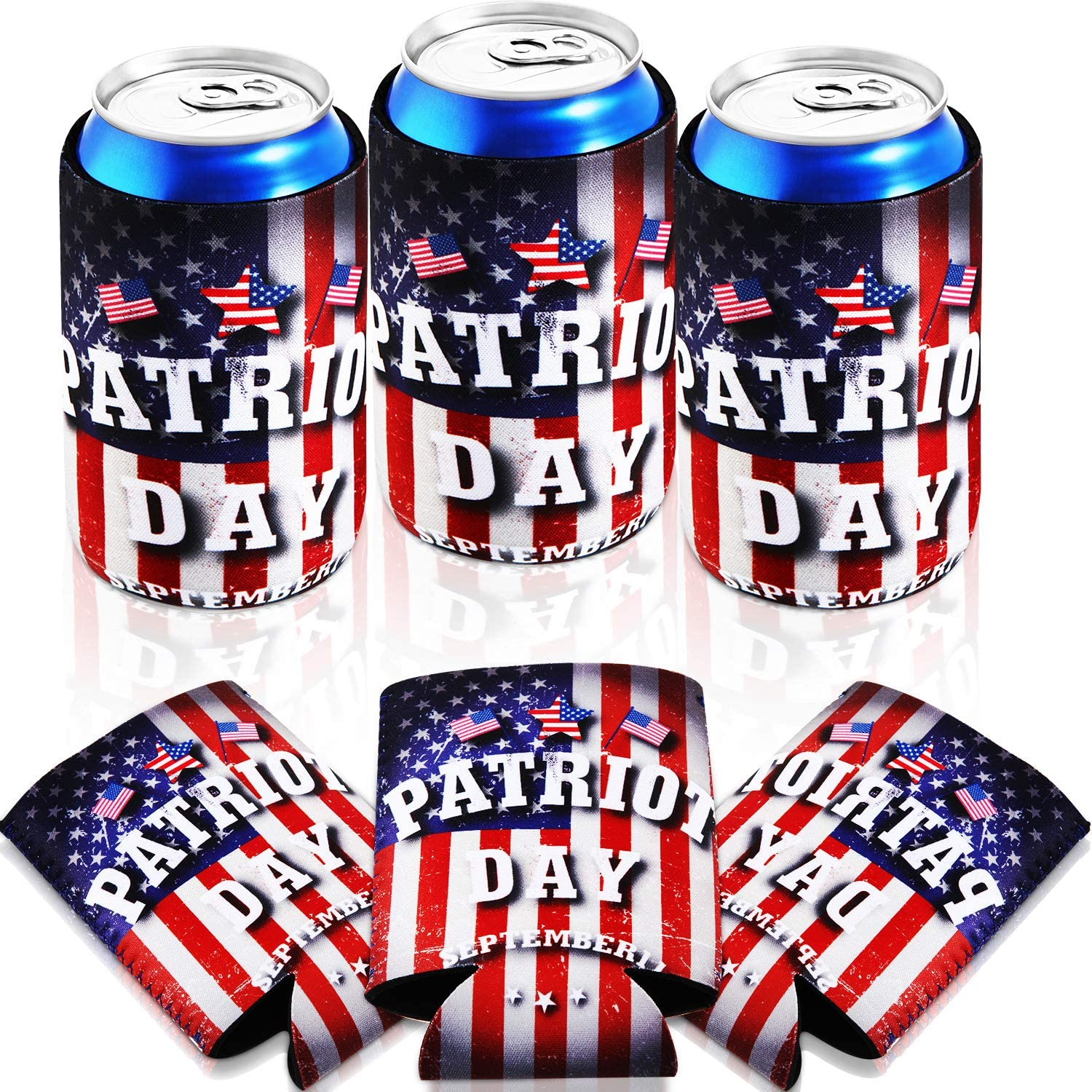 6 Pack/ 12 oz Slim Can Sleeves Neoprene Insulated Beer Can Sleeves Bottles Drink Coolies for Hawaii BBQ Wedding Fiesta Favor Party Gifts (Patriot Day)
