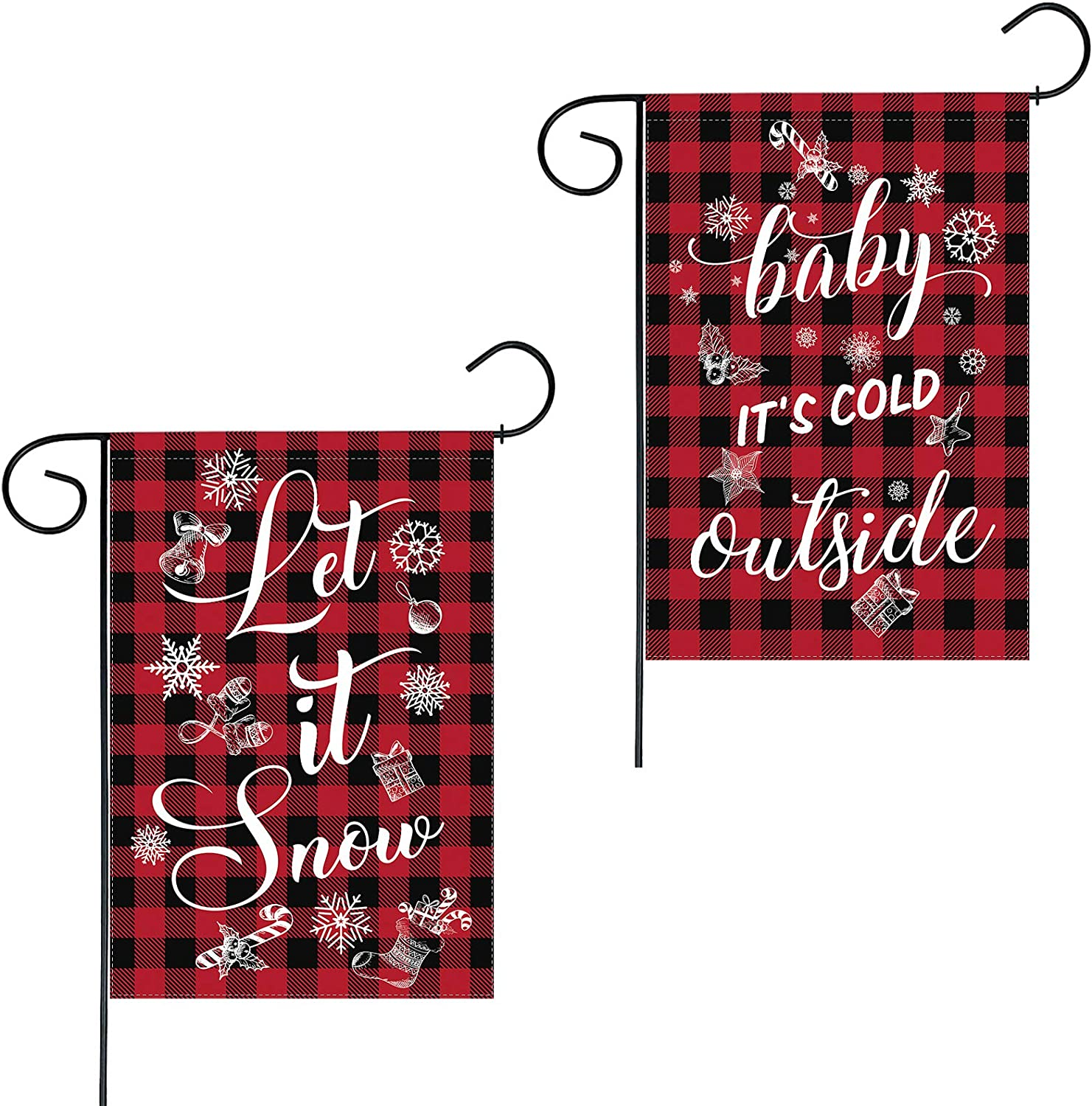 Funnytree 1 Piece Christmas Let It Snow Outdoor Garden Flag Xmas Winter Baby It's Cold Outside Yard Sign Red Buffalo Check Plaid Patio Lawn Decor Banner Double Sided Washable Polyester 12x18 Inches