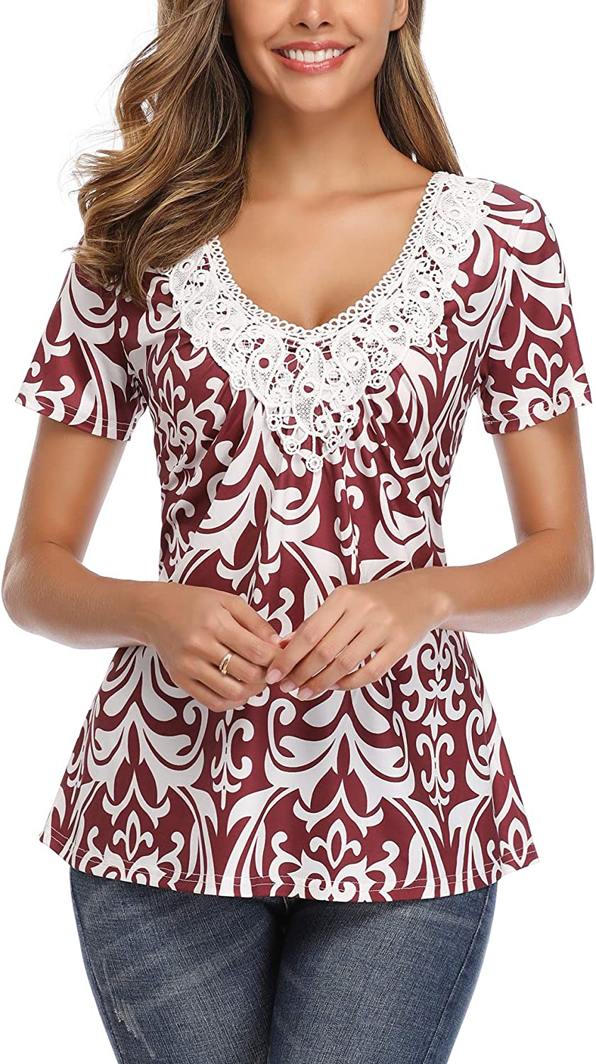 MISS MOLY Womens Gypsy Top Short Sleeve V Neck Summer Tunic Tops Ruched Front T Shirt