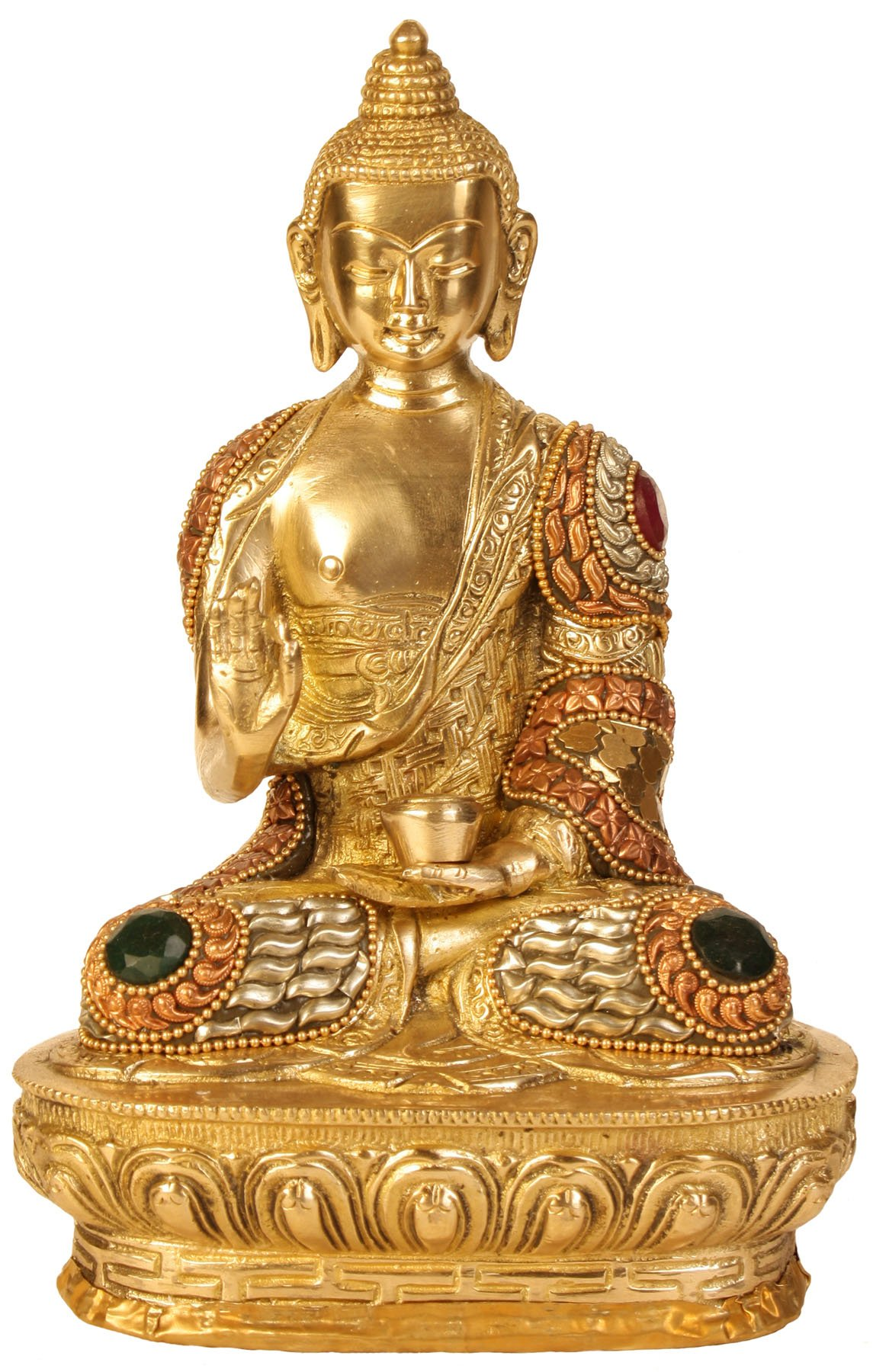 AapnoCraft Rare Thai Abhaya Buddha Sculpture Meenakari Buddha Blessing Statue/Figurine Coral Stone Work by AapnoCraft