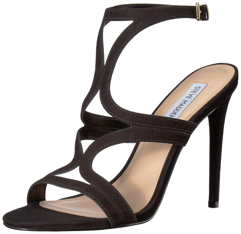 Black Nubuck Steve Madden Womens Sidney Heeled Sandal