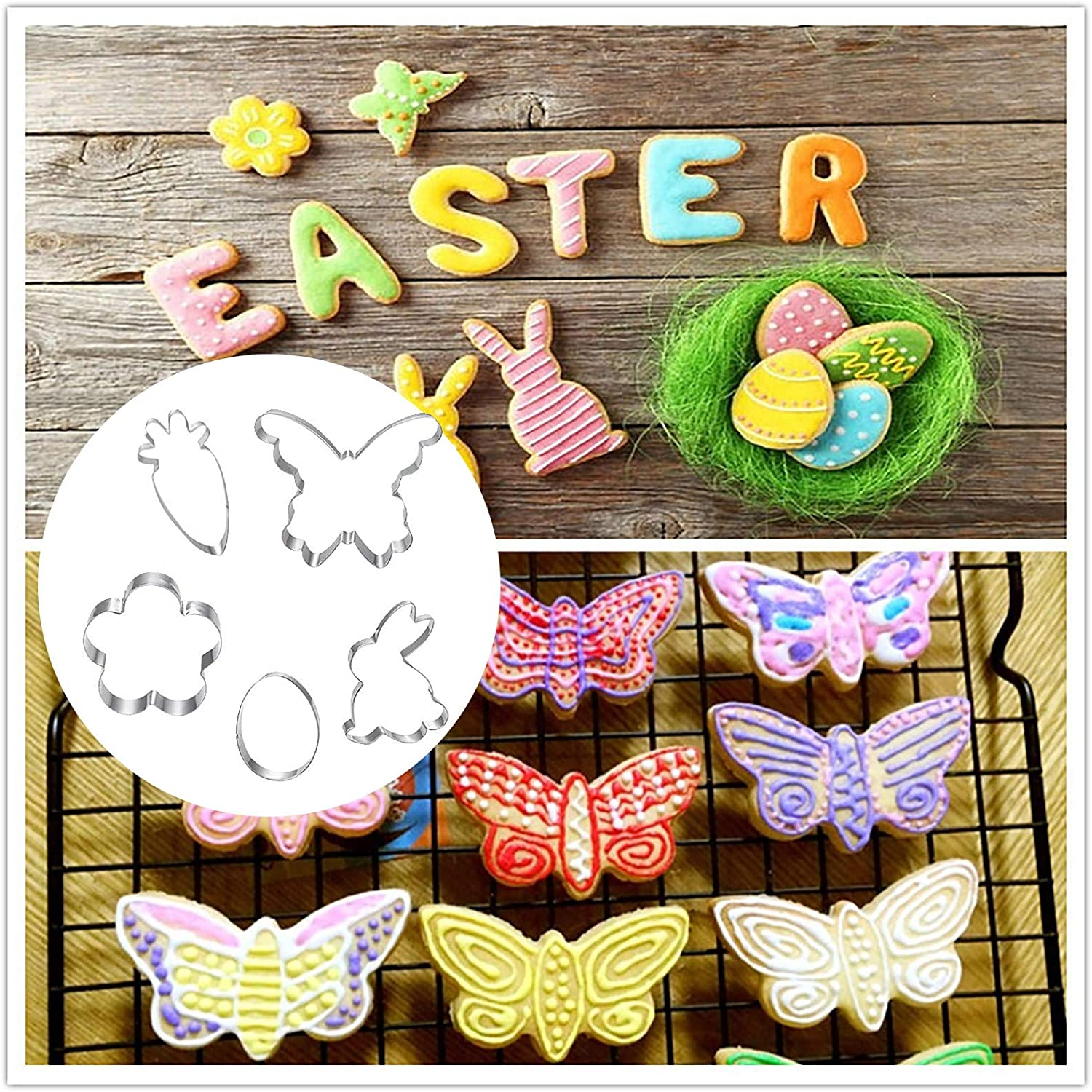 YIlanglang Easter Cookie Mould Stainless Steel Cake Mould Fun Cookie Cutters, Butterfly Cookie Cutter Set, Chocolate Mold Baking DIY Mold Food-Grade Stainless Steel Kitchen Baking Tools