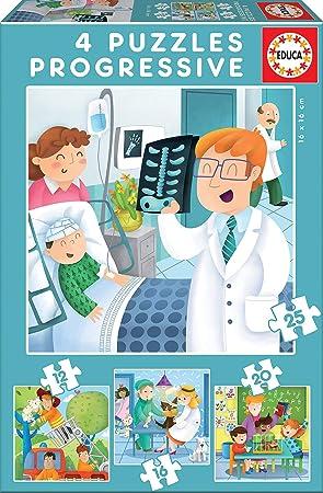 Educa - Puzzles Progresivos, puzzle infantil De Mayor Quiero Ser de 12,16,20 y 25 piezas, a partir de 3 años (17146): Amazon.es: Juguetes y juegos