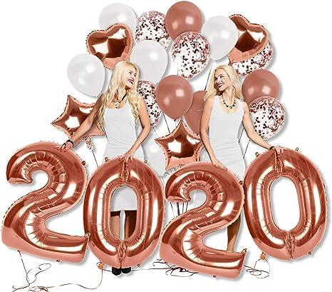 Hochzeit Engagement Geburtstag Party-Events 10 Stuck gro/ße 18 Rose Goldfolie Amison Rose Gold Konfetti Ballons Hellrosa und Wei/ß Papier vorgef/üllt